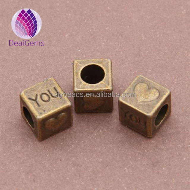 Beads & Jewelry Making Qualified Free Shipping 300pcs 6*6mm Big Hole Cube Acrylic Letter S Beads Gold Color Plastic Alphabet Spacer Beads Fit Ornament Bracelets