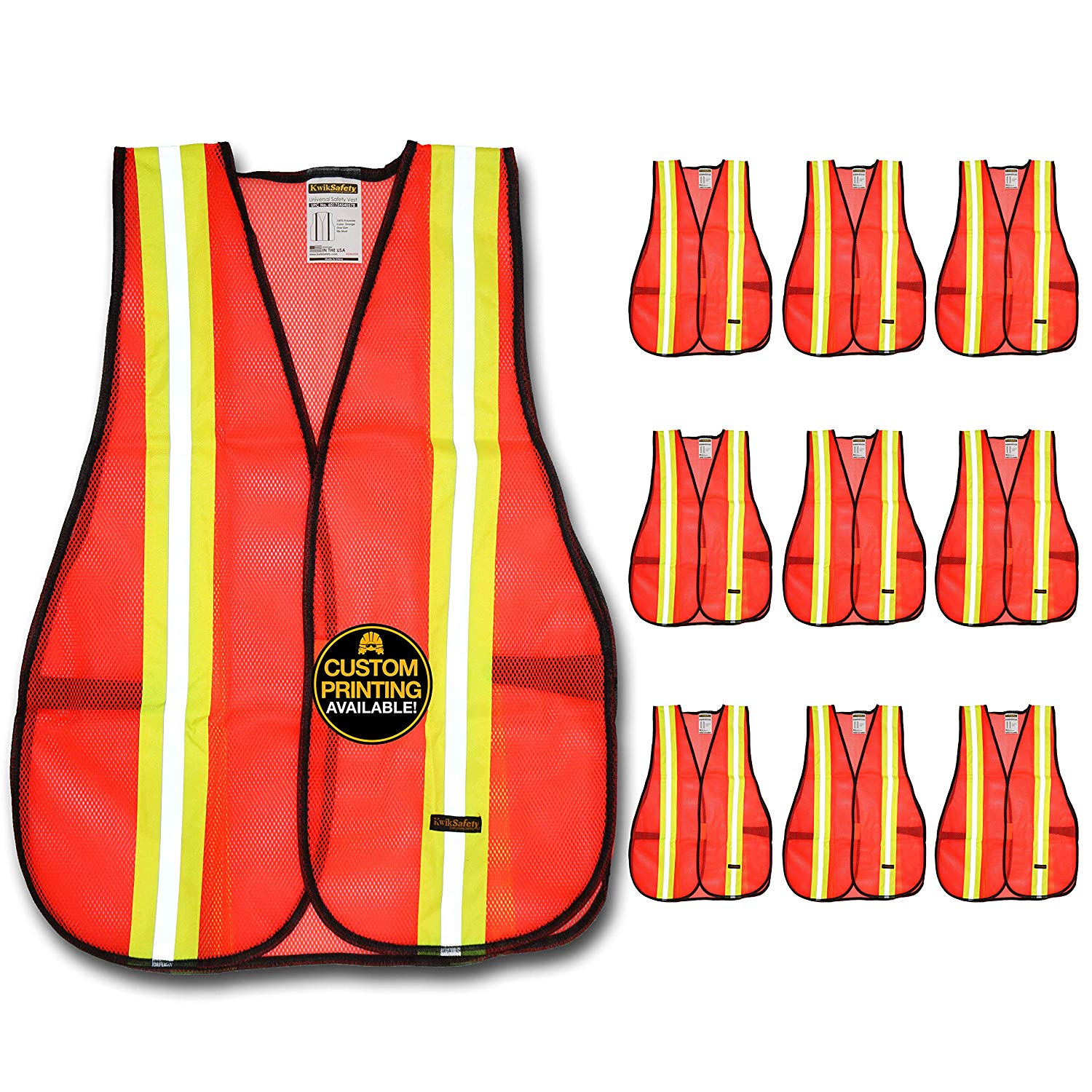 KwikSafety (Charlotte, NC) UNIVERSAL ANSI Class Unrated (Snag Free Velcro Closure) Safety Vest (Premium 10 PACK) High Visibility Lightweight Reflective Tape Hi-Vis Work One Size Fits Most, Orange
