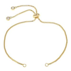 Wholesale Brass Bracelet Findings Cubic Zirconia adjustable box chain for woman nickel 506158