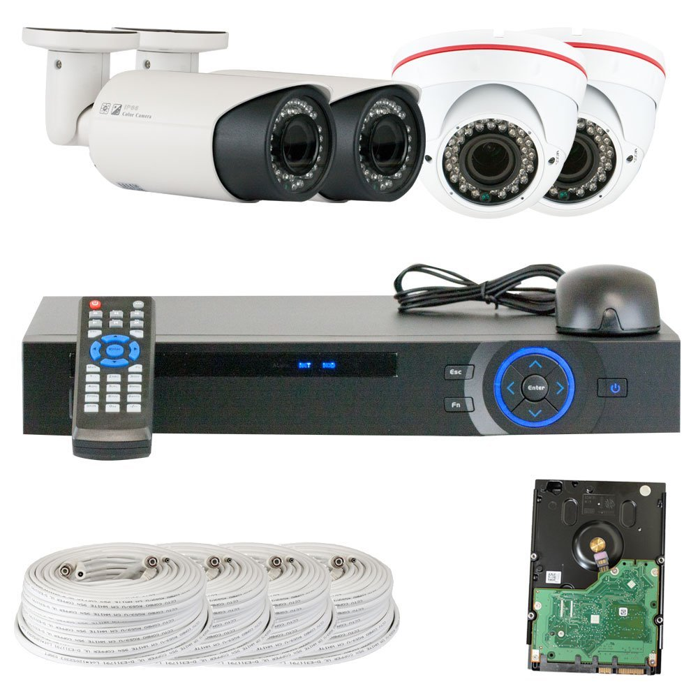 GW Security Inc VD4CHC7 4 Channel HDCVI DVR Security Camera System with 4x1/2.9 HDCVI Color IR CCTV Camera