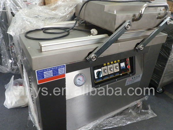 Low price double chamber plastic film beef jerky and stew egg vacuum packing machine