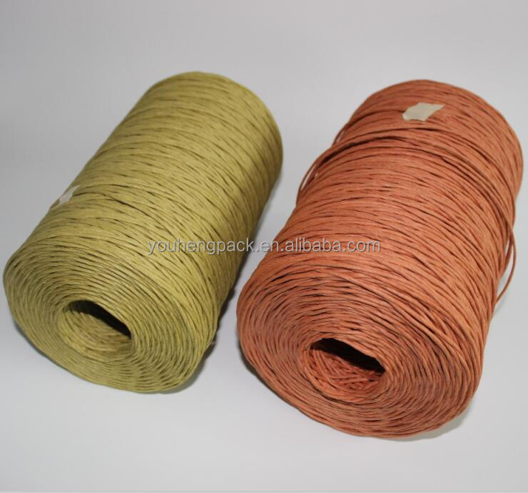 Hot sale wine bottle decorative 2mm orange paper raffia ribbon rope