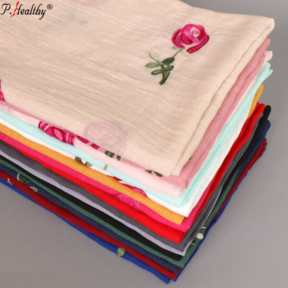 2019 good quality  women plain color cotton Rose Embroidered Scarf  shawl
