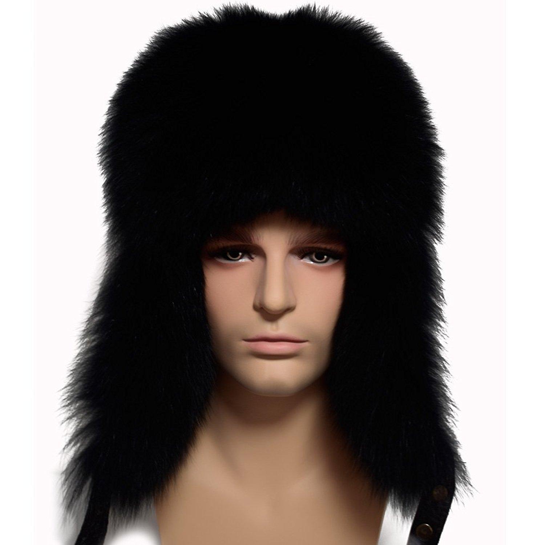 2703e040 Get Quotations · Valpeak Mens Winter Hat Real Fox Fur Genuine Leather  Russian Ushanka Hats