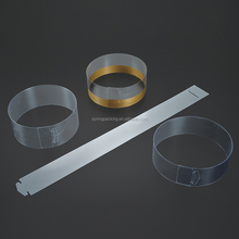 Custom clear printing PET PVC transparent plastic strip band cake collor for muffin cupcake packaging