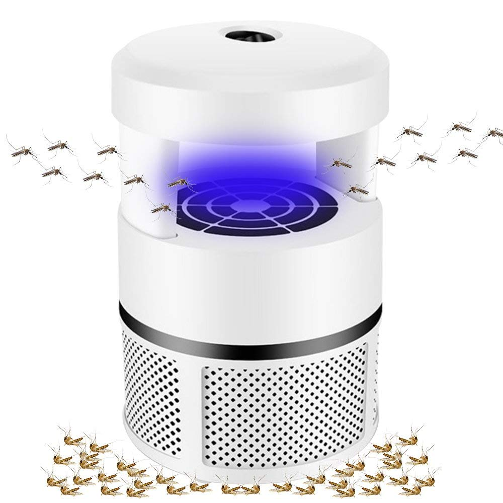 Pholex Electronic Mosquito Killer, USB Powered Bug Zapper Trap Lamp, Non-toxic Chemical-free Photocatalyst, UV LED Insect Killer Catcher, Safe and Effective Indoor Trap for Kids Baby (White)