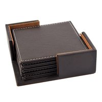 6 Pcs Double-deck Leather Coasters Set Placemat of Cup with Coaster Holder