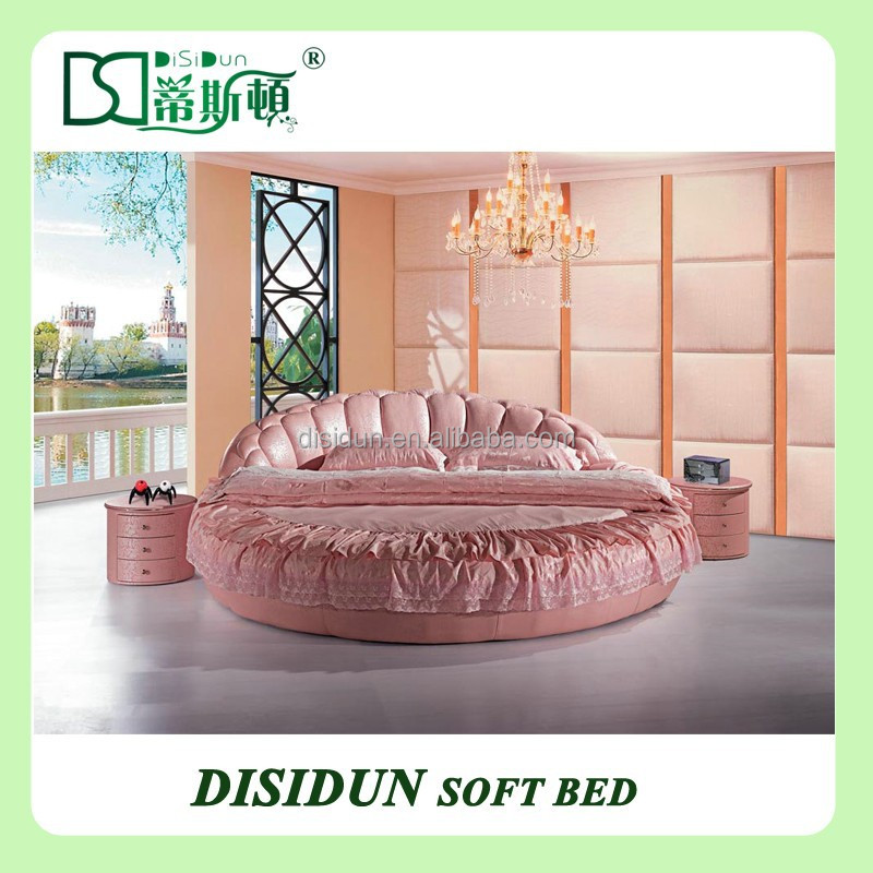 Luxury modern leather round bed DS-801