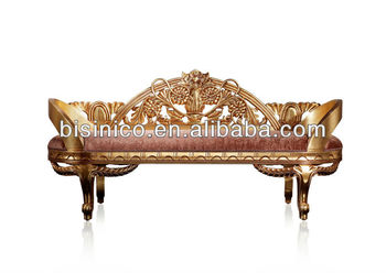 Antique Style Chaise Lounge Chair Birch Wood With Gold Foil