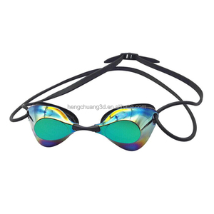 Factory cheap waterproof silicone rubber swimming goggles with transparent lens