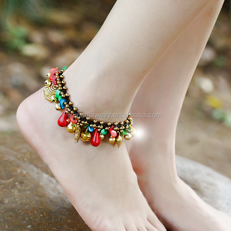 2017 New Arrival Shell Turquoise Bell Design Hotwife Anklets