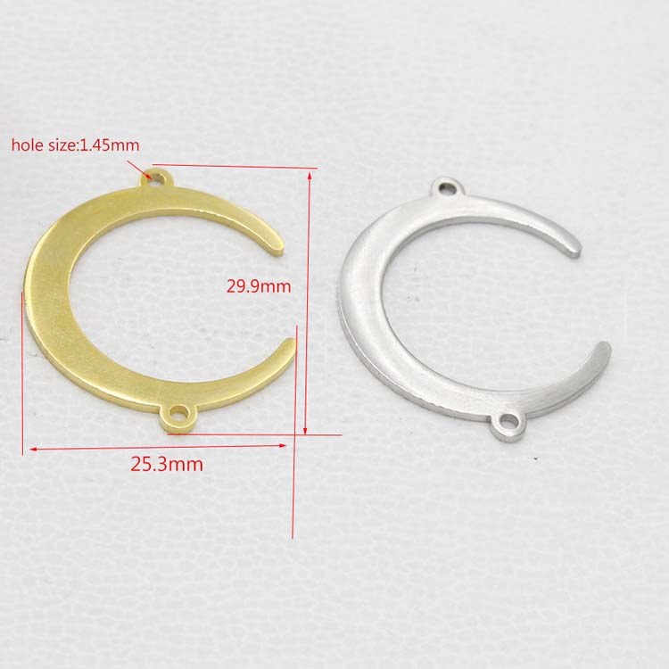 Mirror Polished DIY Findings Suspension Two Loop Charms Connector Stainless Steel Moon Pendants