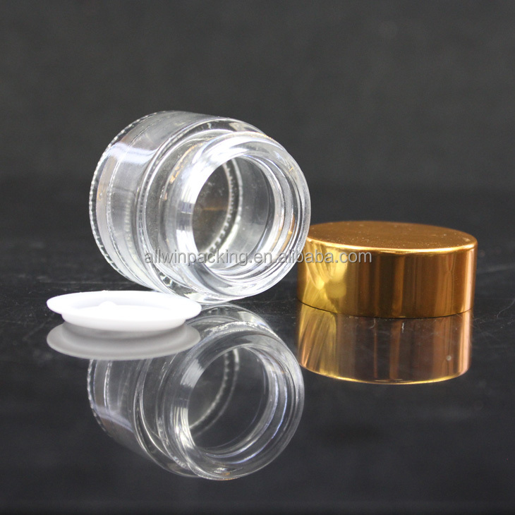 10ml packing for sample/eye cream clear frosted glass cream jar with matte silver aluminum lid