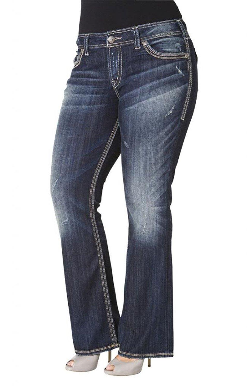 2695ff35 Get Quotations · Silver Jeans Women's Plus Bootcut Suki SurPlus Flap S Logo Back  Pockets Jeans