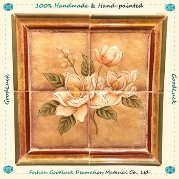 Hand Painted Decorative Small Panel Chinese Wall Art Flower Modern ...