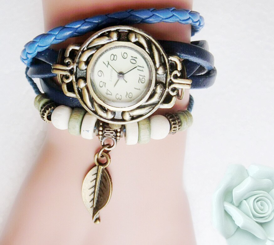 Free Shipping Leaf Charm Leather Watch