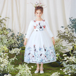 Girl Royal Palace Long Sleeve Princess Dress 2017 Autumn New Children's Wedding Embroidery Wedding Dress