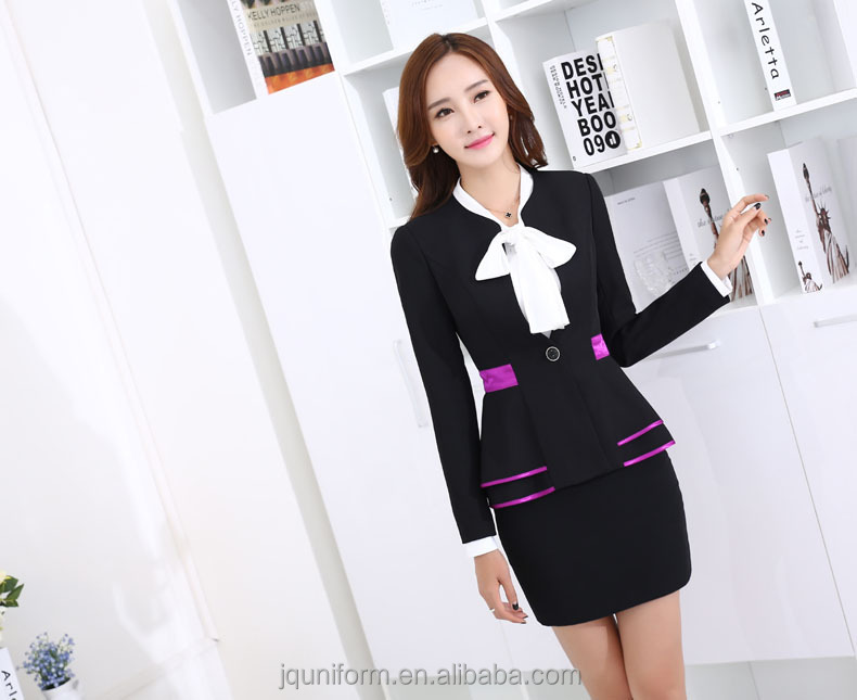 2017 Juqian Women custom suits Winter Solid Color lapel Blazer Office one button up Black White ladies suit design