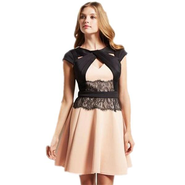 1cc1c79a9e7 Get Quotations · 2015 Summer women skater dress Sexy Lace Waist Skater Dress  Mini Club Dresses club wear