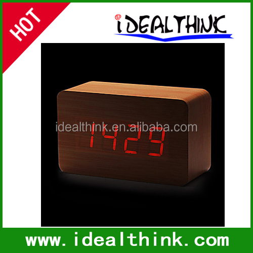 Desktop Calendar Thermometer Night Light LED 3groups Wooden Alarm Clock