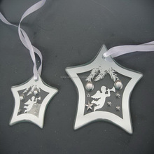 Star shape Christmas tree clear flat glass ornaments with ribbon bowknot