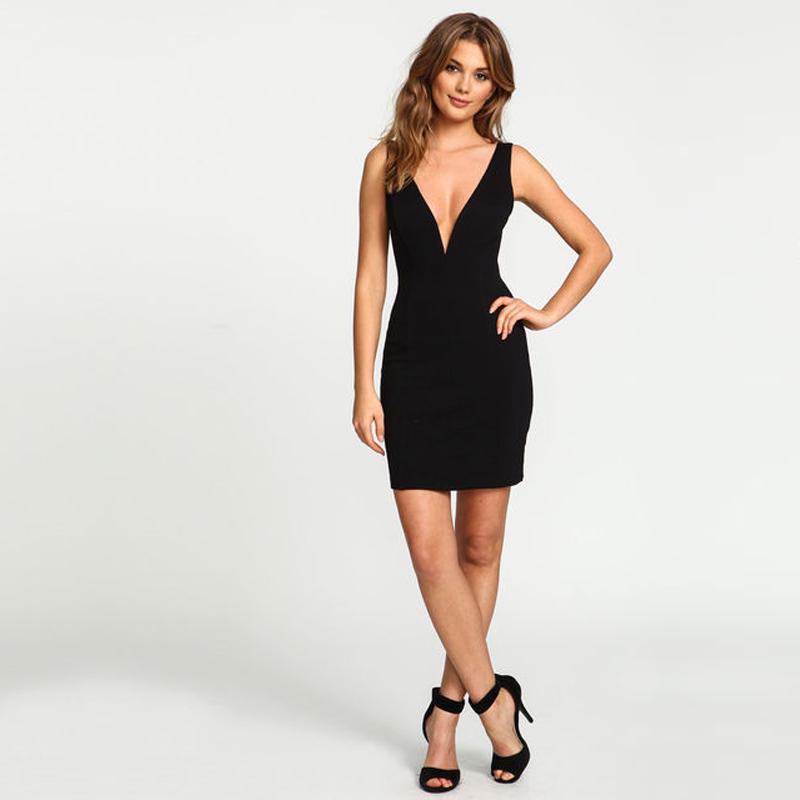 60a3c813537 Get Quotations · 2015 Summer Brand New Fashion Black Solid Sleeveless Deep V  neck Tank Dresses Sexy Pencil Mini