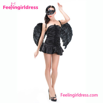 Sexy Halloween Black Dress Fairy Wings Mask Angel Costume Buy