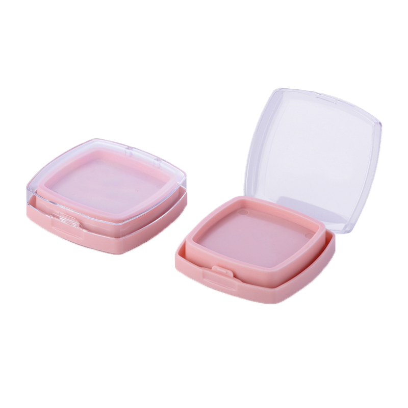 Fashion wholesale pressed loose dry wet powder case empty square round cosmetic makeup compact powder case with mirror
