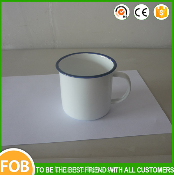 Blue rim ,Pure white color custom enamel mug