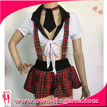 bef449368 New Arrival red plaid bra top short dress School Girl Costume Sexy Adult  Costume