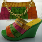 2014 wholesales fresher green color italian matching shoes and bags/ beautiful for ladies shes and matching bags for wedding