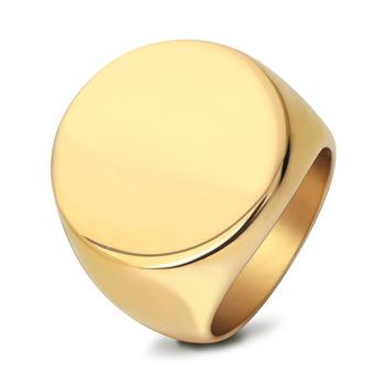 White Gold Signet Ring Man Circle Custom Name Rings Mens Jewelry