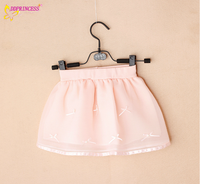 Factory Price Of Fashion Girl Pleated Chiffon Short Skirts Of Appliqued Bow