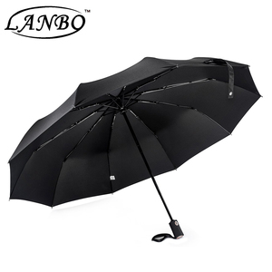 Hot sell muti-functiional black golf foldable umbrella 3 fold teflon travel umbrella