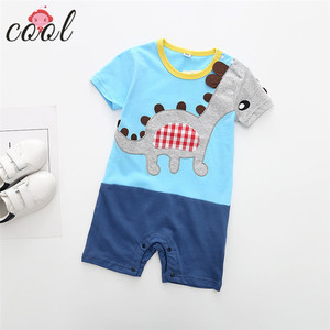 2018 new dinosaur baby rompers animal summer 100 cotton embroidery bay boy clothes