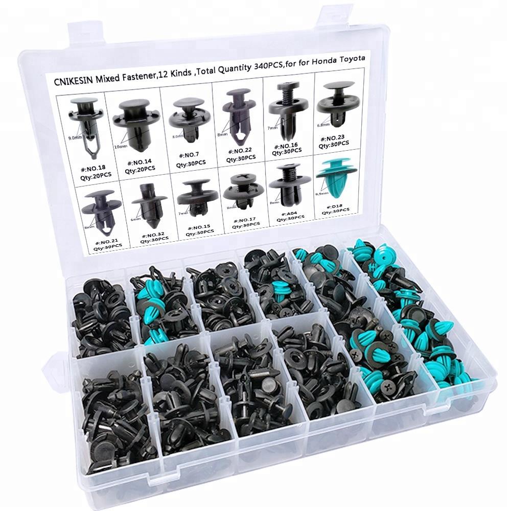 340Pcs//Box Universal Automotive Push Pin Rivet Trim Clip Assortment Kit Plastic