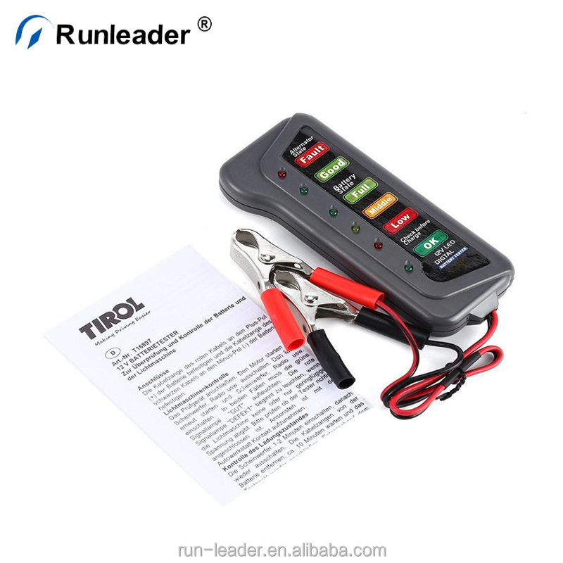 Home Punctual 12v Digital Battery Alternator Tester Car Vehicle Diagnostic Tool With 6 Led Lights Display Battery Testers For Car Motorcycle High Resilience