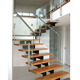 easy installed classical wood step staircase and timber handrail glass railing