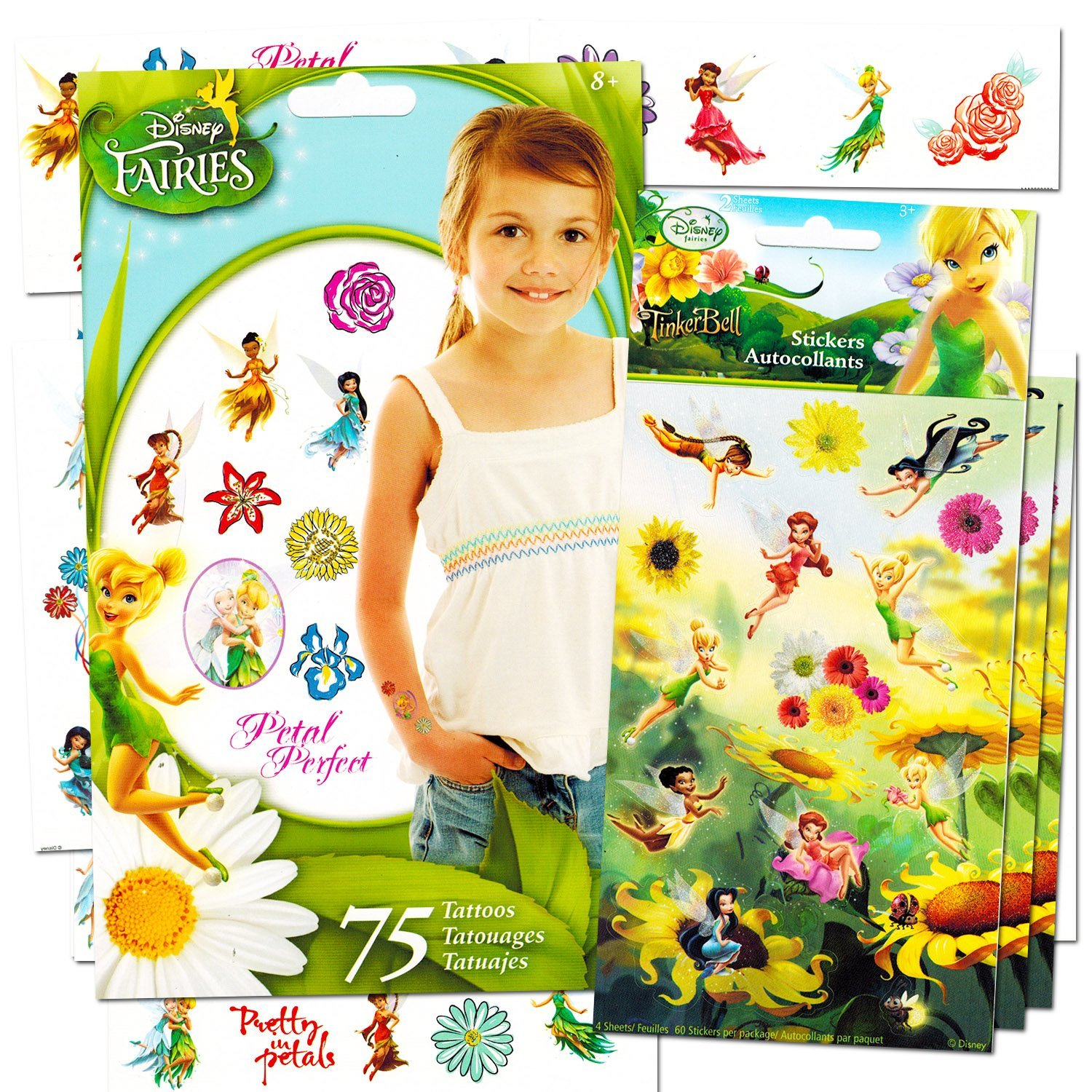 Disney Fairies Stickers and Tattoos Party Favor Pack (120 Stickers & 75 Temporary Tattoos Featuring Tinkerbell)