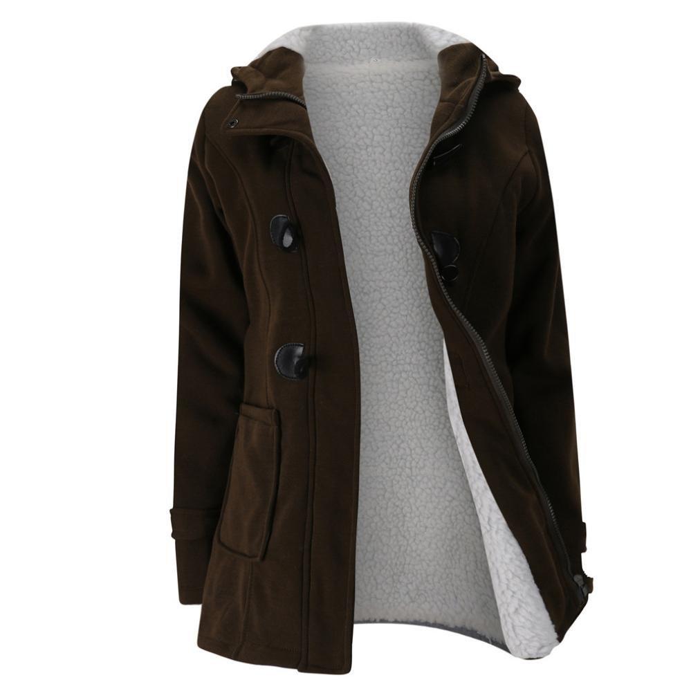 AIMTOPPY HOT Sale, Fashion Women Windbreaker Outwear Warm Wool Slim Long Coat Jacket Trench (M, Coffee)