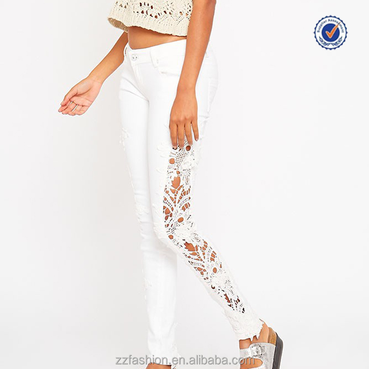 Wholesale white crochet detail ladies trouser cutting