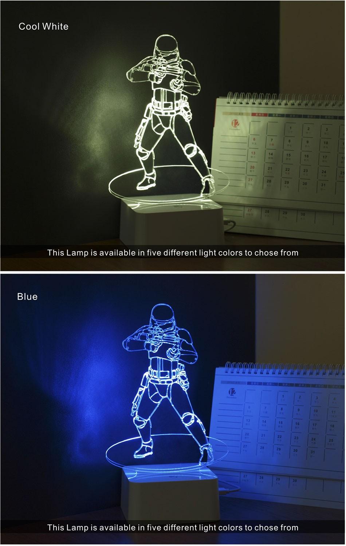 Luz de Noche Led for Star War Fans Imperial Stormtrooper 3D Lamp as Home Decor Bedroom USB Nightlight  (3)