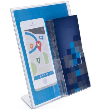 L type acrylic sign holder with brochure pocket