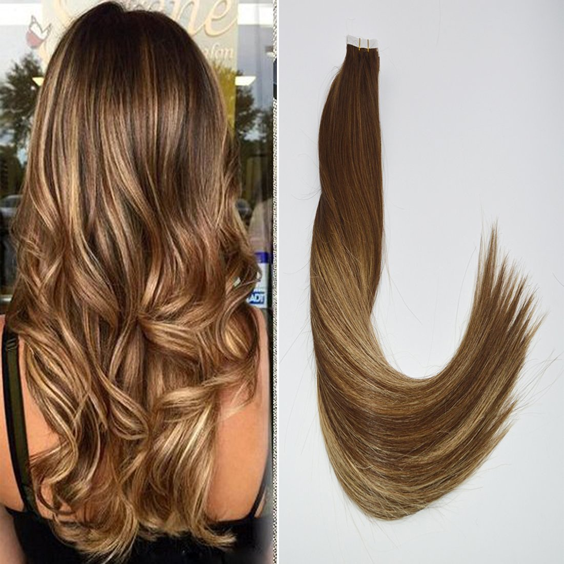 "BeautyMiss 14"" 20Pcs/50g BeautyMiss 14""-24"" 20Pcs/50g 100% Brazilian Remy Hair Ombre 4# Chocolate Brown Fading to #27 Honey Blonde Mixed #4 Balayage Tape in Human Hair Extensions Salon Hair"