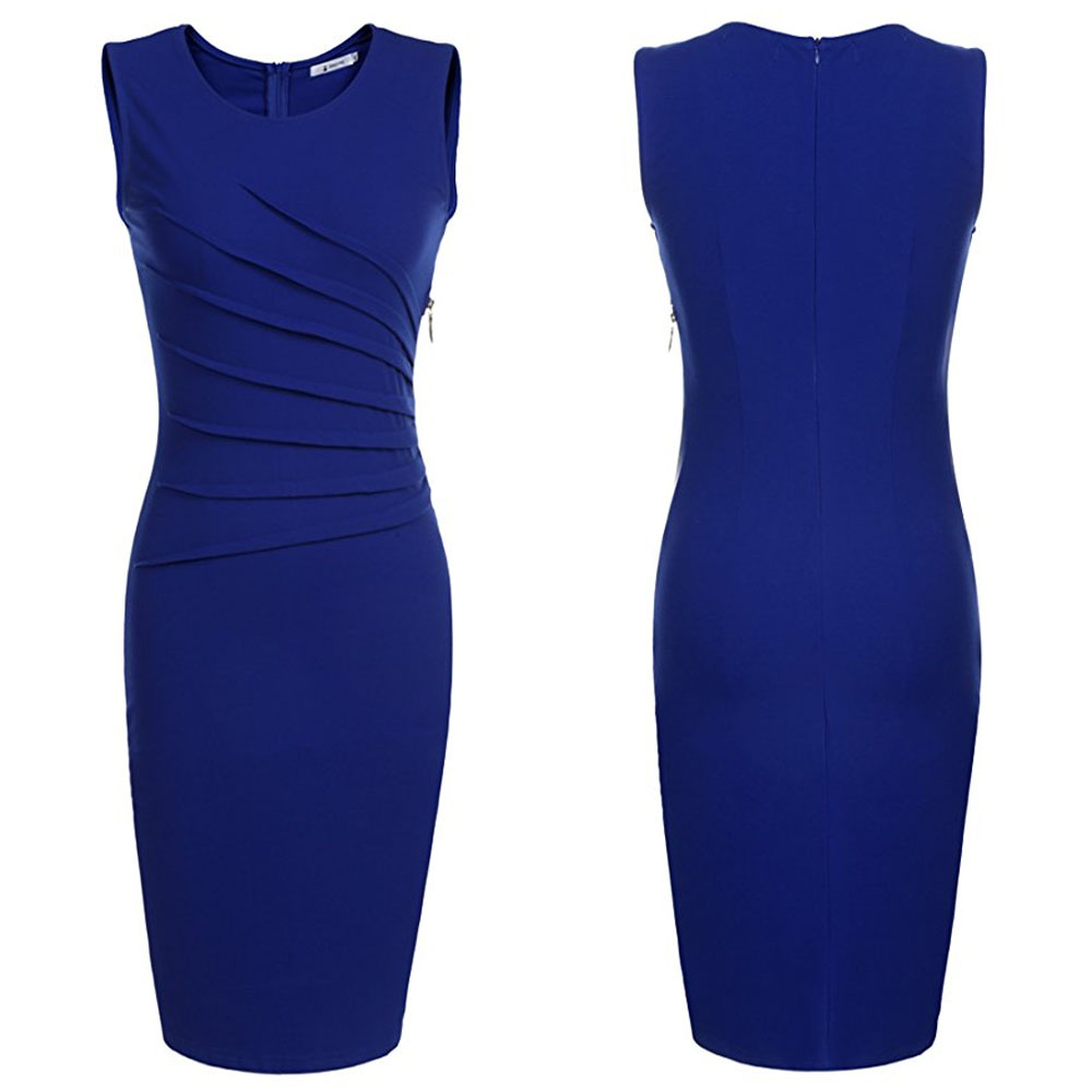 Fashion Summer Slim Fit Bodycon Tight Pencil Women One piece Office Career Dress in Blue Color