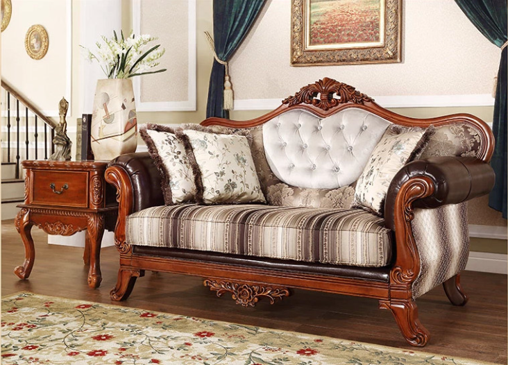 Countryside Style Fabric And Leather Wood Sectional Sofa Set For Home  Furniture N 258   Buy Wood Sectional Sofa,Fabric And Leather  Sofa,Countryside ...