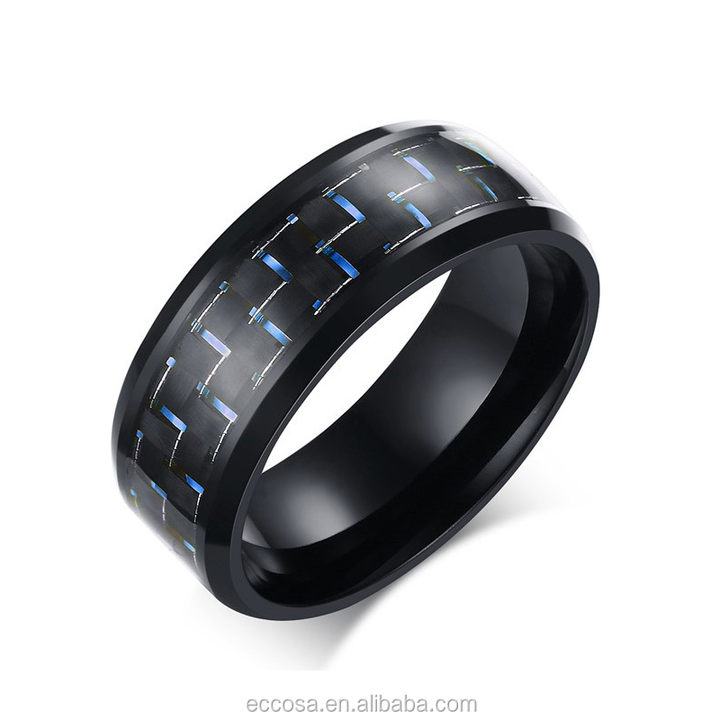 Fashion Black Simple Men Ring 8mm Men Jewelry Stainless Steel Rings Carbon Fiber Wedding Engagement Ring 3 Colors