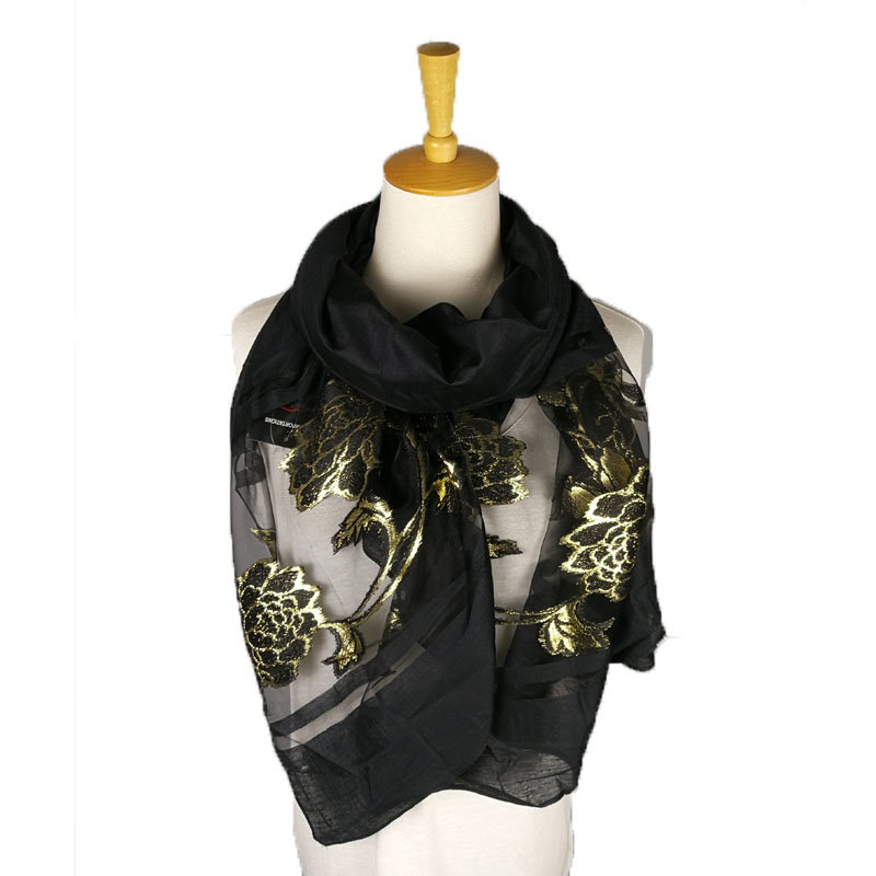 Hot selling womens luxury black organza ladies floral shawls