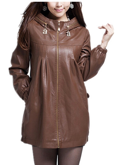 Free Shipping 2015 New Arrival Outerwear Plus Size Medium-Long PU Clothing Leather Jacket,Women Coat,XL XXL 3XL 4XL 5XL 6XL