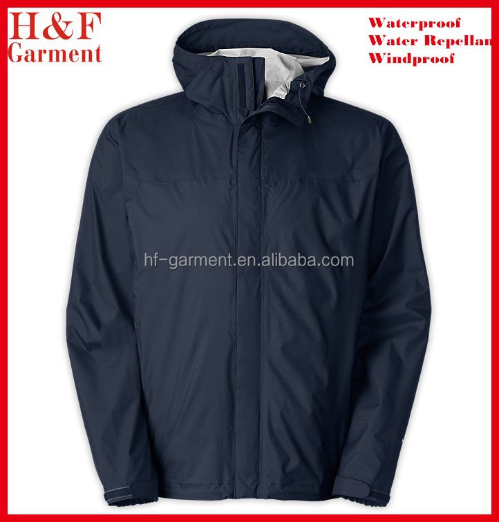 Polyester Waterproof Jacket Rain For Men In Plain Navy Blue - Buy ...